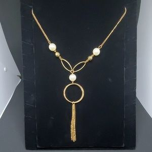 Gold Tassel & Faux Pearl Necklace